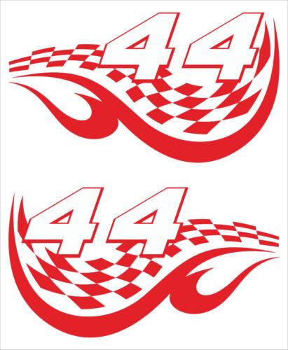 Startnummern Auto 2 Stk. Aufkleber Typ RACING-FLAG von 0 bis 99 Motorrad