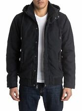 NEW Quiksilver Men's L LARGE LG Everyday Brooks Hooded Jacket BLACK COAT $99.50
