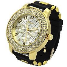 Mens Gold White Iced Out Hip Hop Fashion Silicone Quartz Wrist Watch Geneva 3L