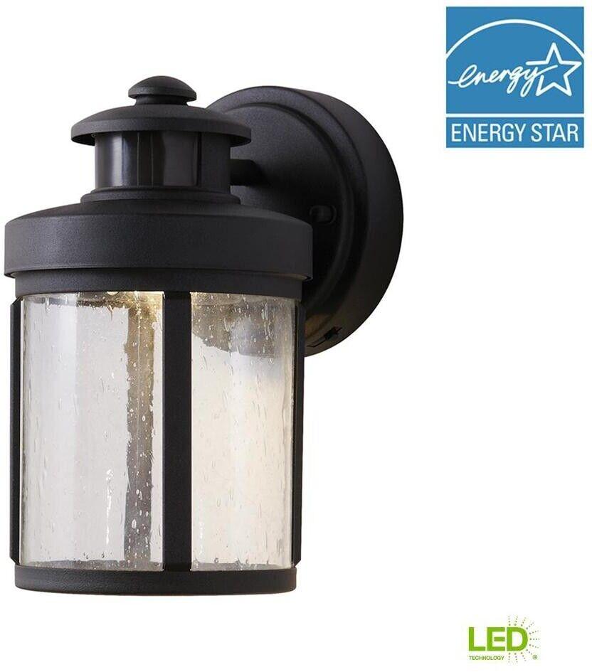 Hampton Bay Outdoor Lantern Motion Sensor Steel Light LED Small Wall Mount schwarz