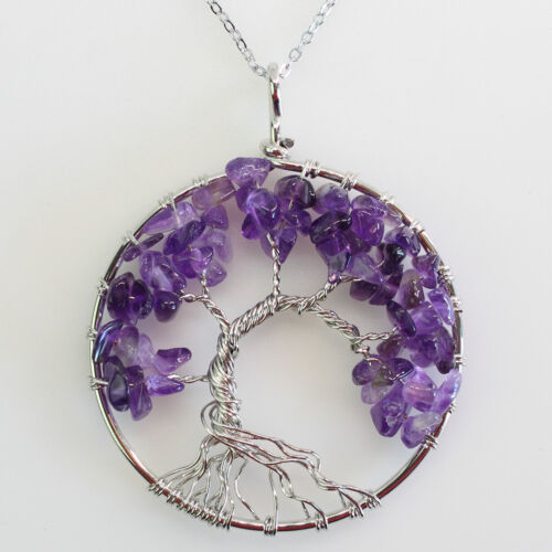 Amethyst Peridot Agate Chips Beads Tree of Life Chakra Silver Pendant Necklace