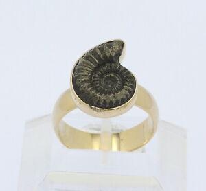 Unikat-Ring-in-18-kt-18k-750er-Gelb-Gold-mit-Muschel-Anthrazit-Muschelring