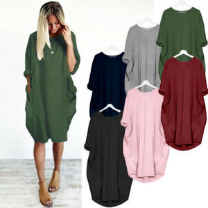 Womens-Long-Sleeve-Pocket-Party-Ladies-Tops-Stretch-Pullover-Loose-Mini-Dress