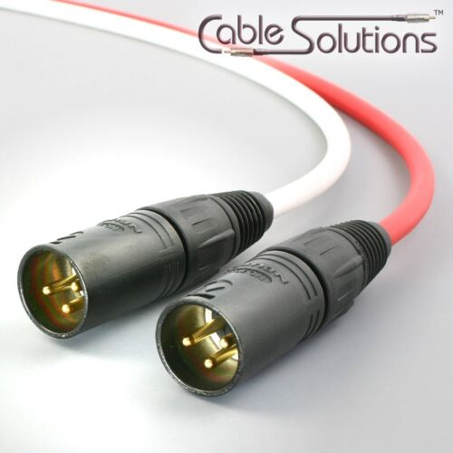 White//Red Stereo Pair Canare Balanced XLR Audio Interconnect Cables 3m