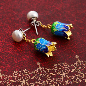 Chinese-Vintage-Cloisonne-Blue-Orchid-Flower-Bud-Handmade-Drop-Earrings-Pearls