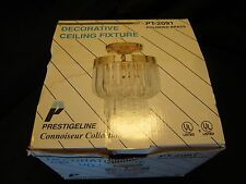 Vtg Hollywood REGENCY LUCITE 18 Prisms & BRASS CEILING FIXTURE New old stock