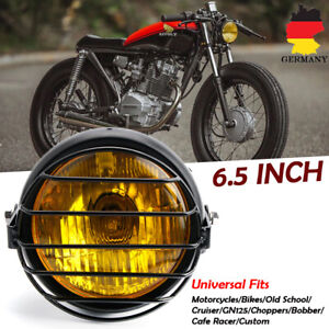 Retro-Motorrad-6-5-034-zoll-Hi-Lo-Scheinwerfer-Grill-Side-Mount-Cover-fuer-Cafe-Racer