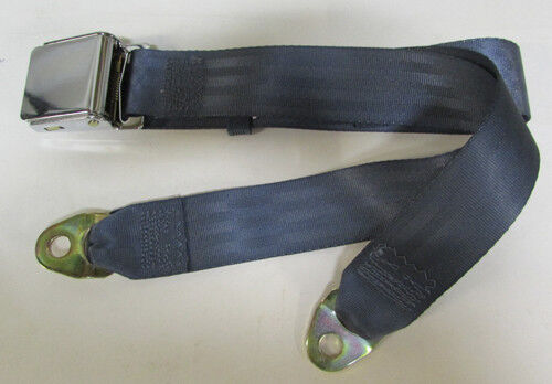 """74/"""" Medium Blue Seat Belt Vintage 2 Point Non Retractable Blue Lap Seat Belt"""