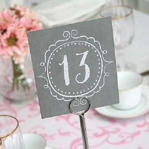 1-40 Charming Vintage Grey Square Wedding Table Numbers | eBay