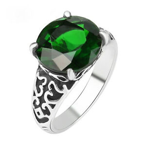 Antique-green-emerald-ring-with-inlay-settings-women-ring-jewelry-gift-for-her