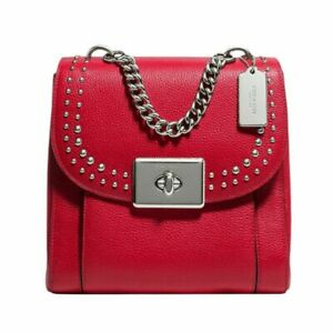 NWT-COACH-F76692-Pebble-Leather-Rivets-Cassidy-Backpack-Purse-Bright-Cardinal