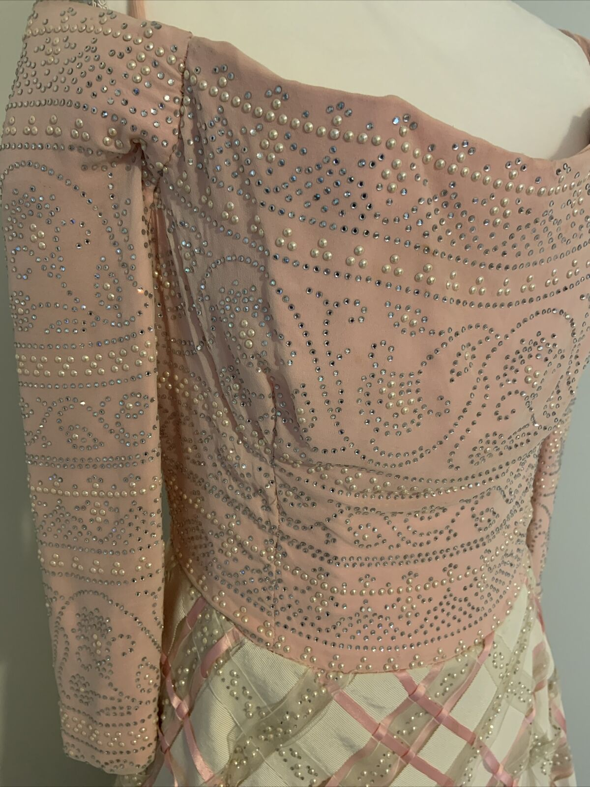 Arnold Scaasi Vtg Couture Pink Rhinestone Bodice/… - image 2