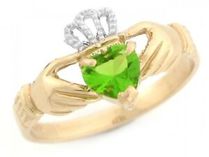 10k-or-14k-Two-Toned-Gold-Claddagh-Simulated-Peridot-August-Birthstone-Ring