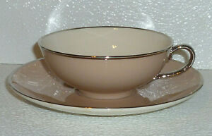 Franciscan-SANDALWOOD-Cup-And-Saucer-Vtg-1965-China-California-Platinum-Trim