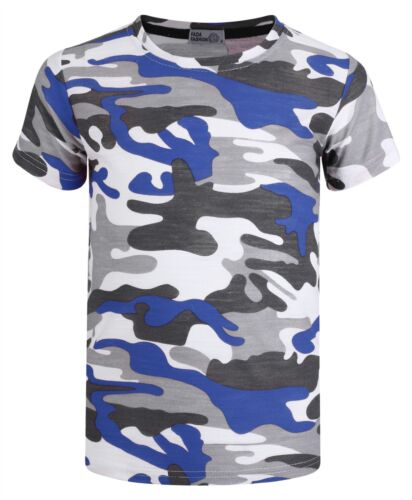 Kids Weave Camo Pattern Short Sleeve T-shirt Soldier Linen Military Top 3-14 Y