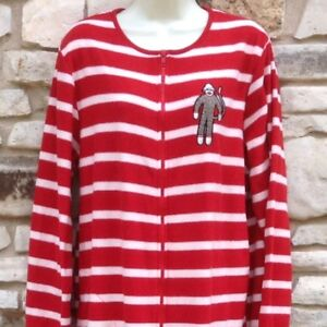 897c05ad7f0f Nick   Nora Footed Pajamas Women Sz XL Sock Monkey Red White Stripe ...