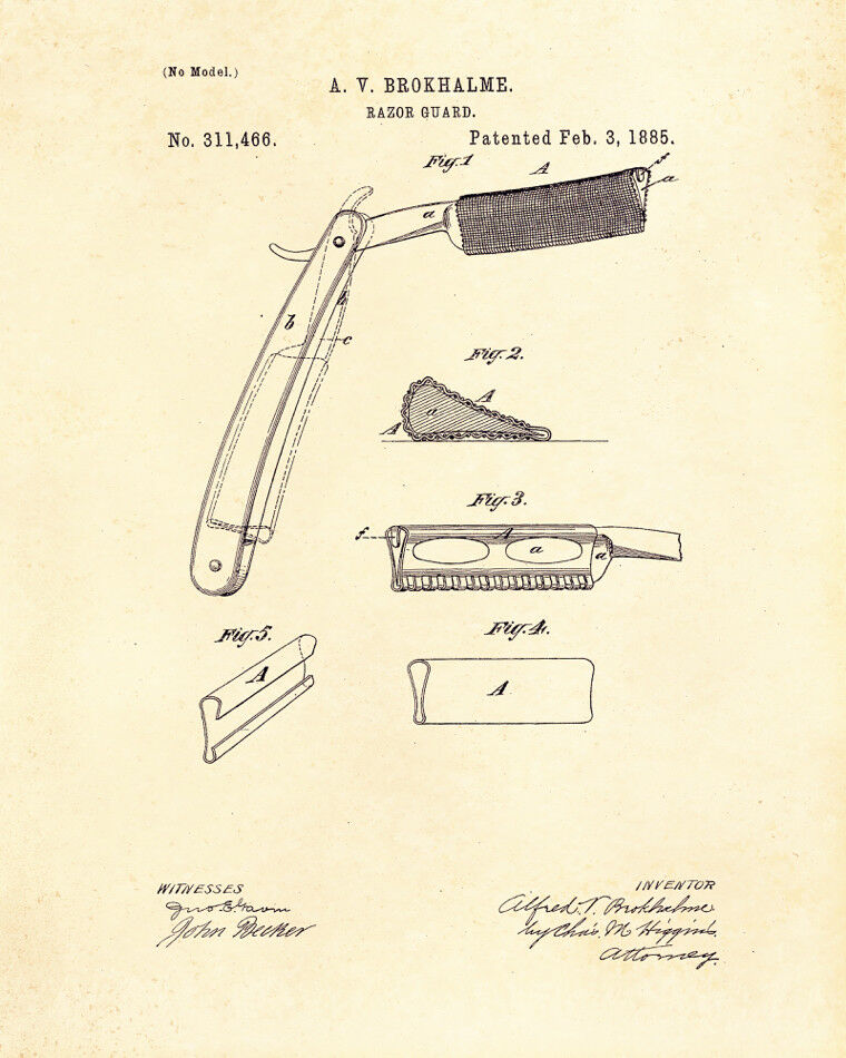 Decoration POSTER print.Vintage Patent.Razor.Shave.Home Room interior wall.6756