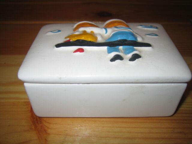 Keramik Schmuckdose rechteckig 10,6x7,4cm Deckel bunt verziert Höhe 5,5 cm
