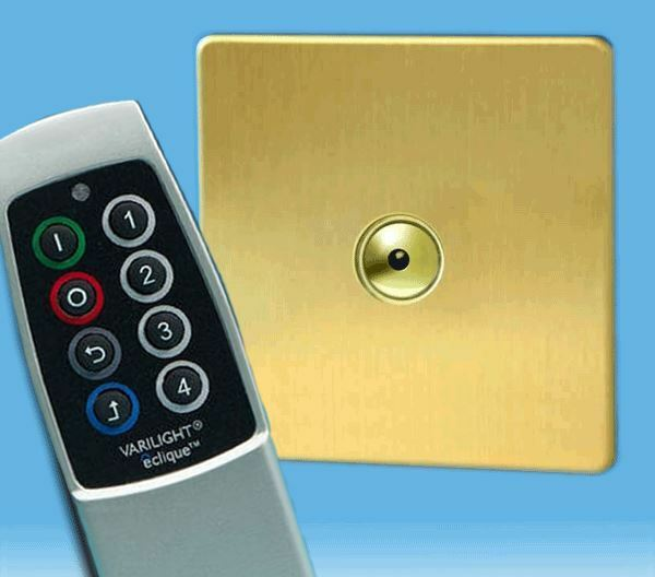 V-Pro IR 1 Gang Remote Touch LED Dimmer, Screwless Brushed Brass + Scene Remote