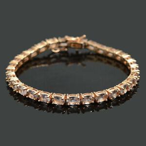 14K-Rose-Gold-Plating-Natural-Morganite-Gemstone-925-Silver-Tennis-Bracelet