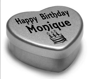 Happy Birthday Monique Mini Heart Tin Gift Present For Monique With