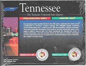 2002-Philadelphia-amp-Denver-Mint-Tennessee-Colorized-State-Quarters-COA-Sealed