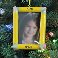 School Pencil Picture Frame Teacher Student Personalized Christmas Tree Ornament