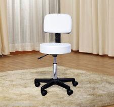 Hydraulic Massage Stool Spa Beauty Salon Chair Adjustable Mid-back Leather White