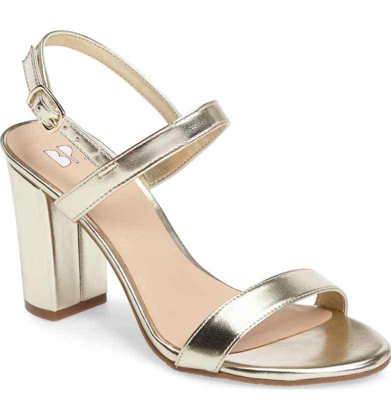 BP. Lula Block Heel Slingback Sandal gold Faux Leather 6.5