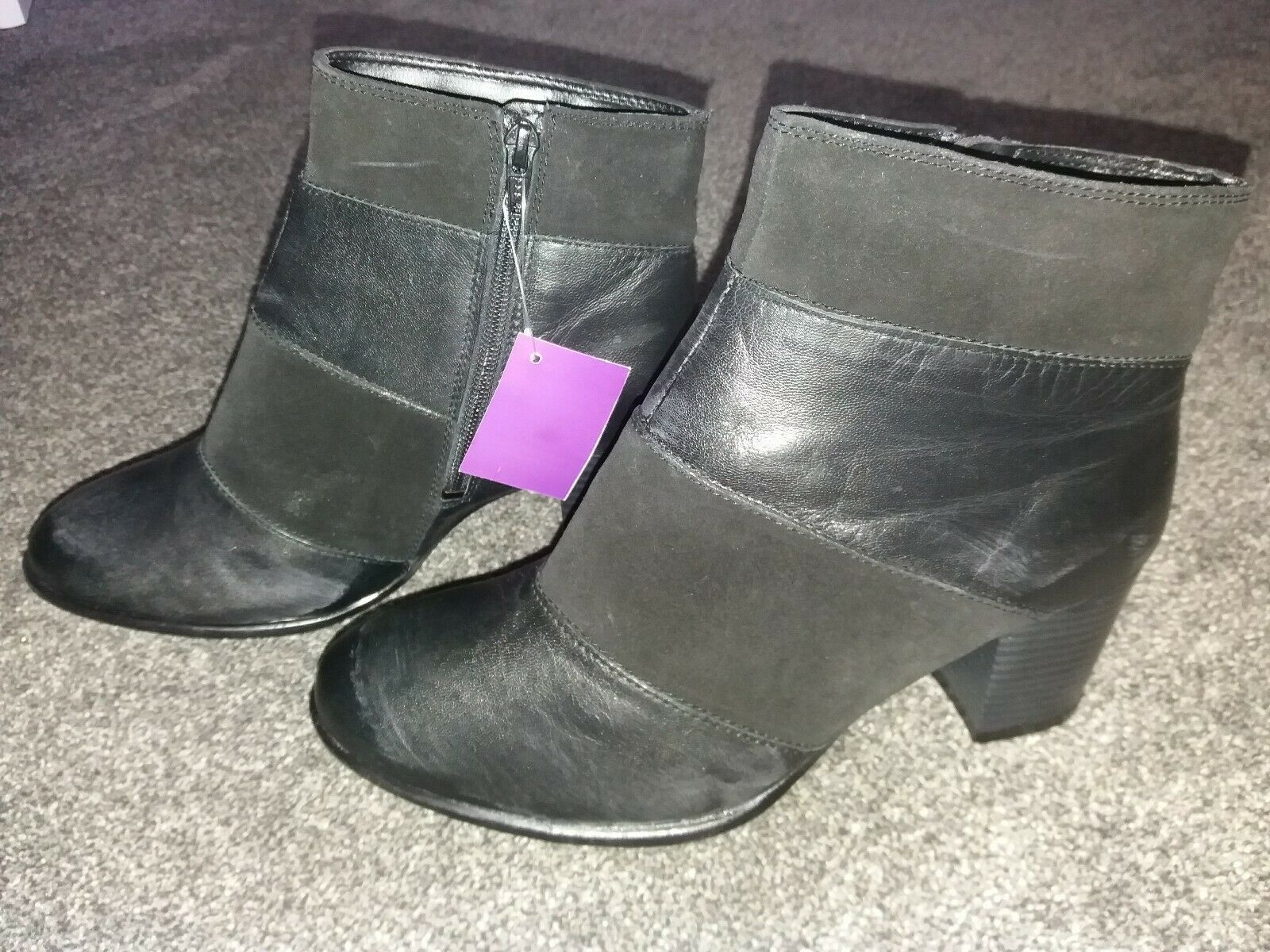 BNWT Ladies negro cuero botas Lotus Debenhams