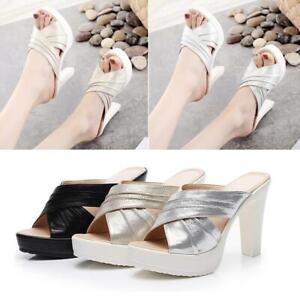 Women-Ladies-Platform-High-Heel-Sandals-Fashion-Cross-Peep-Toe-Slip-On-Slippers