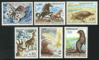 Fed Mnh Monaco 760-765 Intl Of Animal Protection.ponies,seal,chamois,1970