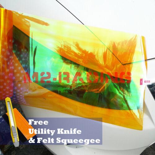 "12/""x12/"" Neo Amber Orange Headlight Taillight Fog Light Vinyl Tint Diy Film"