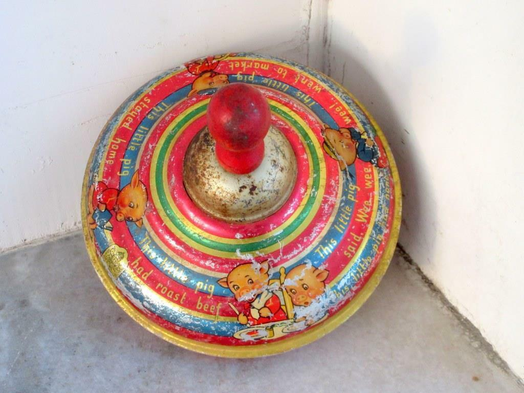Vintage Old Fine Round Baby Spinning Spring Cartoon Print Litho Tin Top England