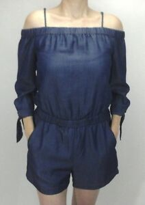 Splendid Romper Shorts Chambray Blue Cold Shoulder 1 Piece