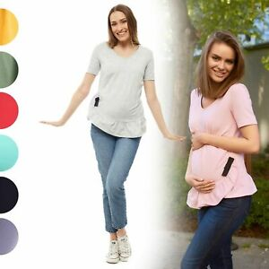 Women-039-s-Pregnancy-Maternity-Top-Short-Sleeve-Scoop-Neck