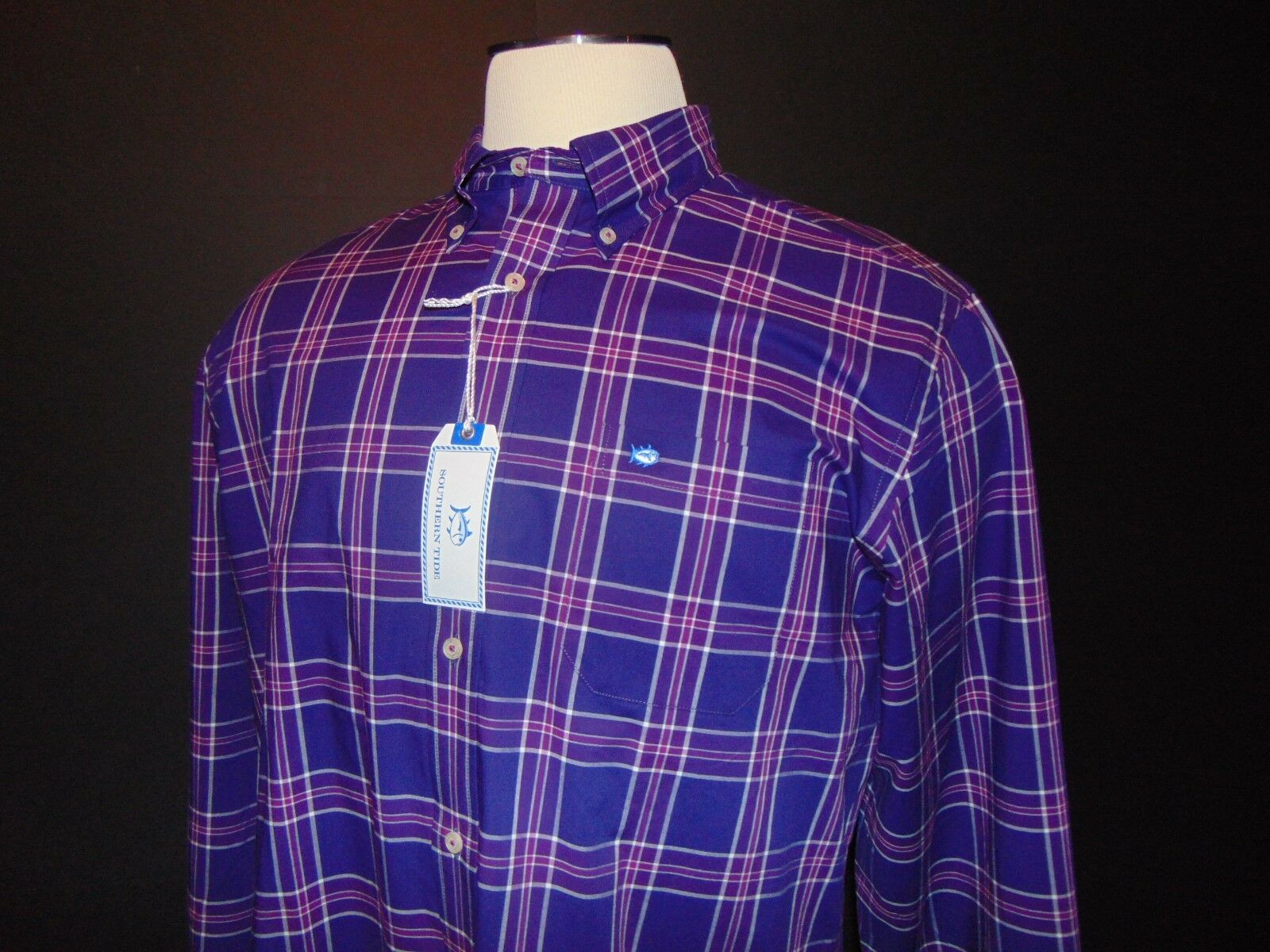 NWT, SOUTHERN TIDE Button Front Shirt  Small  Elderberry Plaid