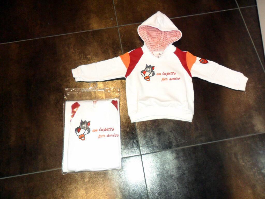 3351 ROMA BABY NEONATO FELPA FELPINA 12 MESI INFANT HOODED HOODY TOP OFFICIAL