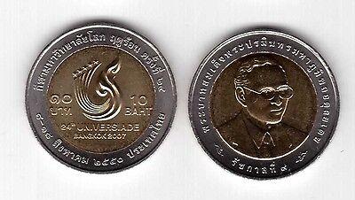 THAILAND World GAMES BIMETAL 10 BAHT UNC COIN 2007 YEAR Y#435  UNIVERSIADE