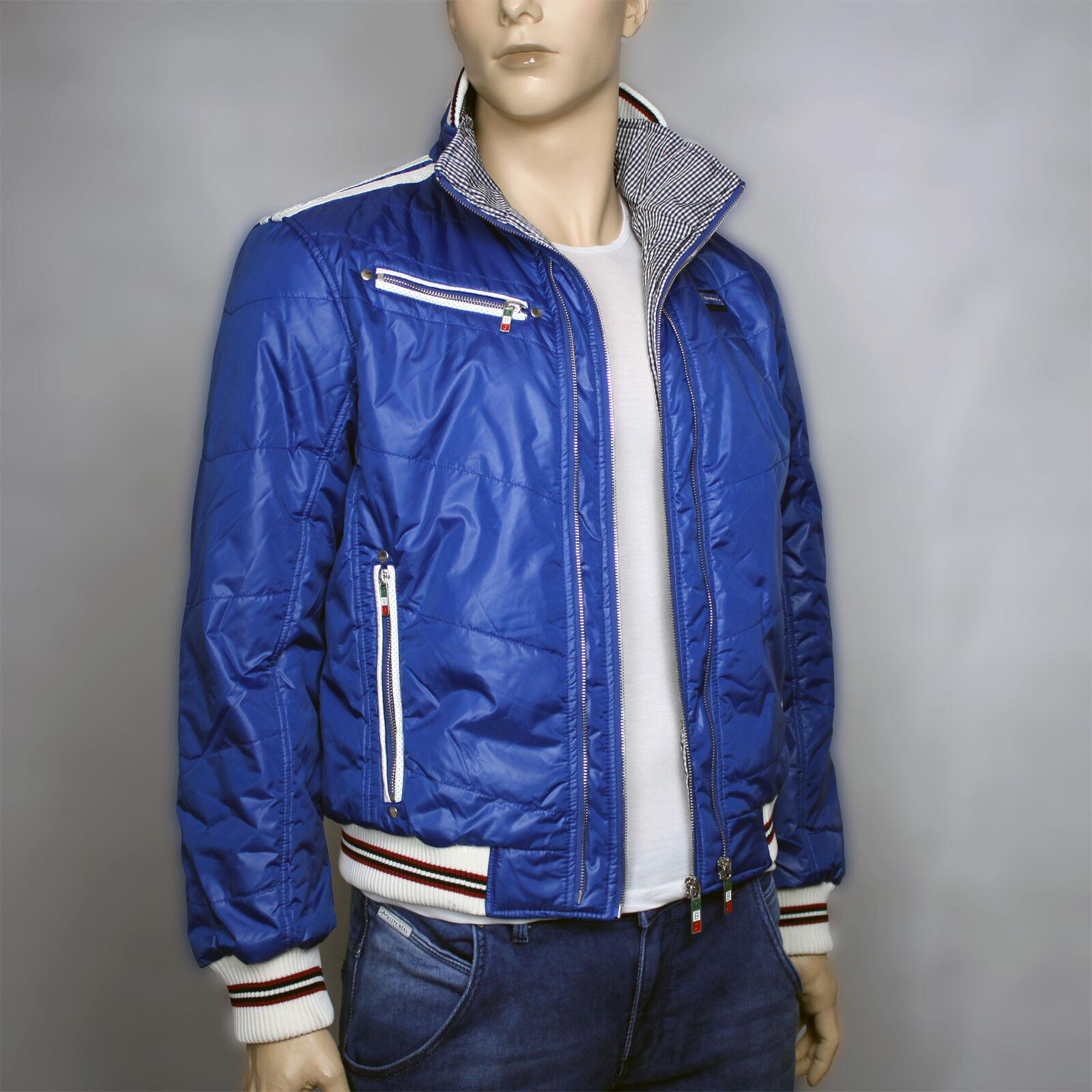 rotBRIDGE Jacke blau Blouson  Reißverschluß Leicht Gefüttert Taschen R31470