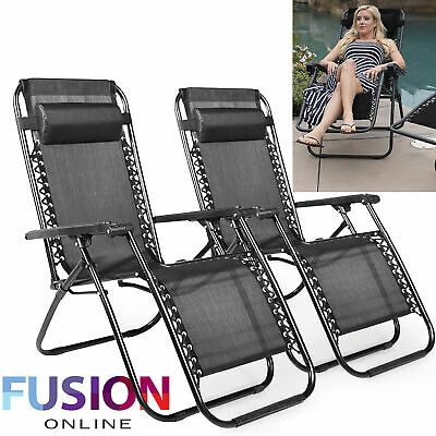 2 x Zero Gravity Chair Reclining Sun Lounger Outdoor Garden Folding Adjustable