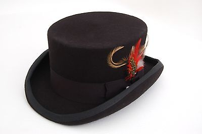 100/% WOOL BLACK DEADMAN DRESSAGE HATS WEDDINGS FESTIVALS GOTHIC STEAMPUNK S-XL