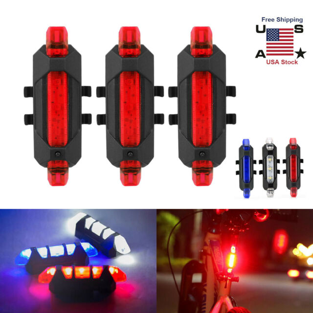 USB-Recharge LED Cycling Bicycle Bike Front Light /& MTB Safety 5 LED Tail Light