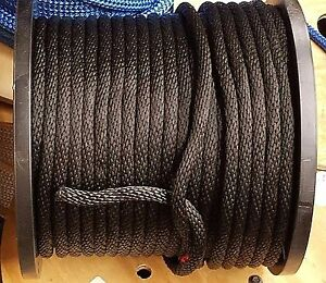 """ANCHOR ROPE DOCK LINE 3//8/"""" X 350/' DOUBLE BRAIDED 100/% NYLON BLACK MADE IN USA"""