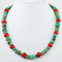 Ny6design Natural Green Turquoise Chips & Red Coral Silver Toggle Necklace 18.5