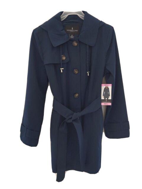 London Fog Dark Teal Hooded Belted Trench Rain Coat Raincoat Womens Small For Sale Online Ebay