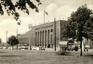 AK, Berlin Friedrichshain, Ostbahnhof, Westfront vor Umbau, Straßenbahn, 1964