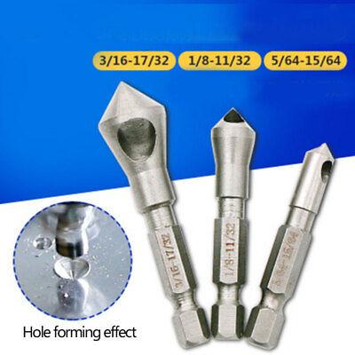3Pcs Countersink Drill Bit Set Deburring Metal Wood Plastic Hex Shank Useful