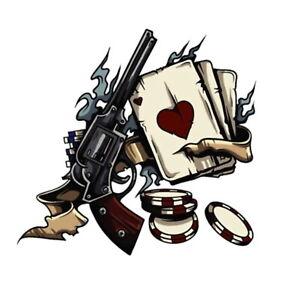 Spielkarten-Pistole-Pokerchips-Asse-Retro-Aufkleber-Sticker-Rockabilly-Motorrad