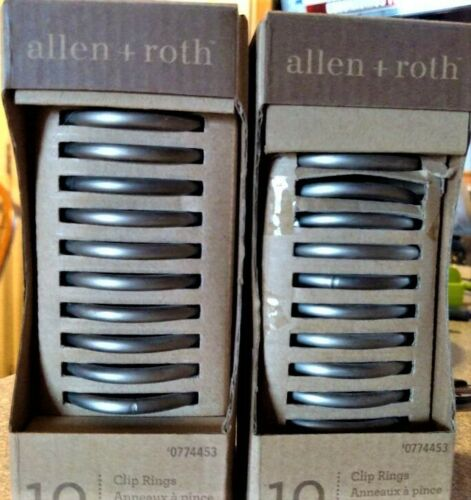 roth Brushed Pewter 20 clip rings Silver Curtain Ring #0774453 NEW allen